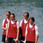 Deutsche Meisterschaft im Kanu-Rennsport München 2000: zum 1. Mal Deutsche Meisterin im K4(3. v.l.)